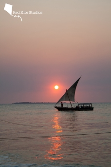 Dhow by sunset in Zanzibar